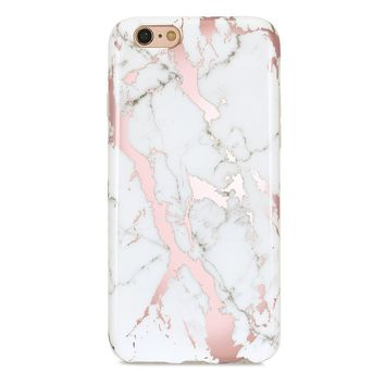 "GOLINK iPhone 6 Case/iPhone 6S Case for Girls, Shiny Rose Gold Marble Series Slim-Fit Ultra-Thin Anti-Scratch Shock Proof Dust Proof Glossy TPU Case for iPhone 6/6S4.7"" - White&Rose Gold"
