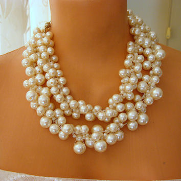 Ivory Wedding Statement Necklaces crocheted pearls