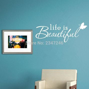 Butterfly Lettering Quotes Wall Decal Life is Beautiful Vinyl Sticker for Home Decor