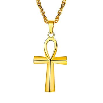 Ankh Necklace,Egyptian Jewelry,Mythology Vintage,Key To Life,African Egypt Cross,Pendant & Chain,Stainless Steel,18K Gold Plated,Rose Gold Plated,Black