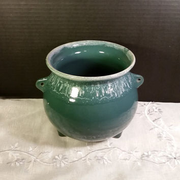 McCoy Bean Pot Green Drip Three Footed Pottery with Green Glaze White Drip Handmade Made in USA Pottery Pot Jar with Handles