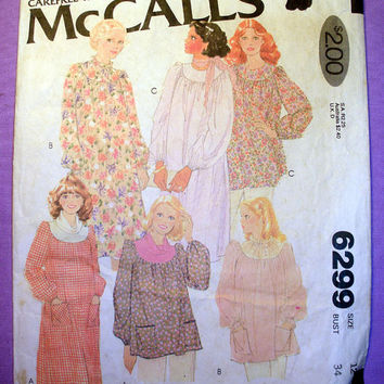 Maternity Dress or Top Misses' Size 12 McCall's 6299 Vintage Sewing Pattern Uncut