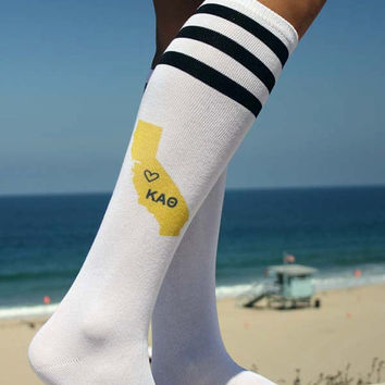 Sorority State Knee High Socks - Select Your Sorority and State - Ladies Cotton Knee High Socks - California Shown In Sorority Color