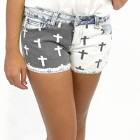 Buckhead Denim Print Cross Black & White Shorts