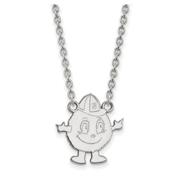 NCAA 10k White Gold Syracuse U Large Pendant Necklace