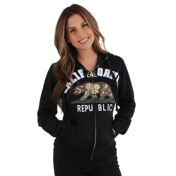 California Republic So Cal Women's Zip-Up Hoodie Black