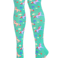 Magical Unicorns Knee High Socks in Aqua