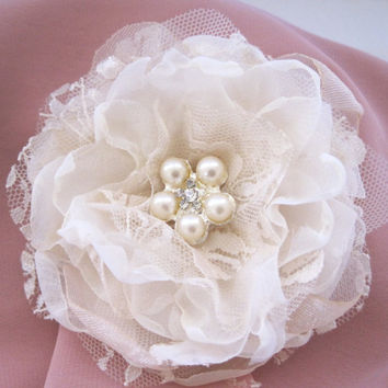 Ivory Chiffon and Lace Wedding Flower Hair Clip Bride, Mother of the Bride Bridesmaids with a Pearl and Rhinestone Accent