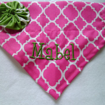 Personalized/Monogram, Quatrefoil, Pink Dog Bandana, Over the Collar