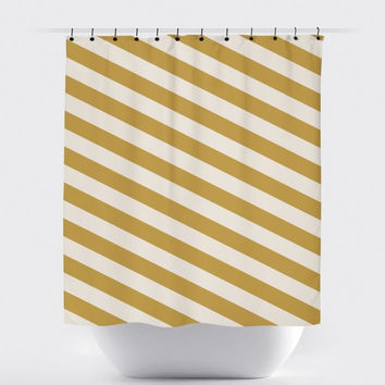 Cream/Mustard Diagonal Stripe Shower Curtain