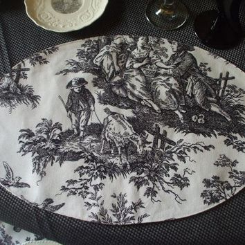 Set of 8 Custom Made Reversible Oval Black Cream Toile / Ticking Stripe Placemats