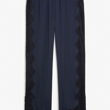 Silky trousers - sea shadow blue - Trousers & shorts - Monki GB