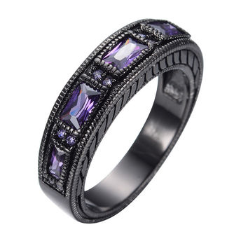 11 Amethyst Crystal Ring Elegant Jewelry Anel Black Gold Filled Cubic Zircon Female Male Wedding Engagement Jewelry Bijoux RB0097