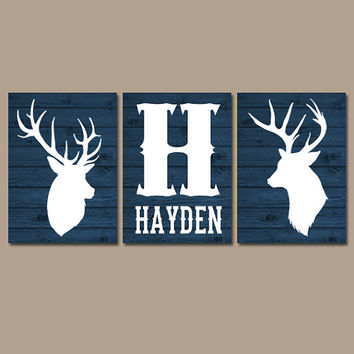 DEER Wall Art, Canvas or Prints, Baby Boy Name Rustic Country Nursery Pictures, Big Boy Bedroom, Antlers Decor, Nave Faux Wood Set of 3