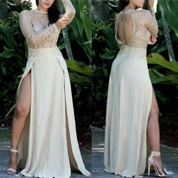 Khaki Sequin Lace Hollow-out See-through Backless Side Slit New Year Party Maxi Dress