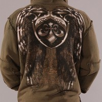 Affliction Eagle Shield Mens Hoodie Olive Green