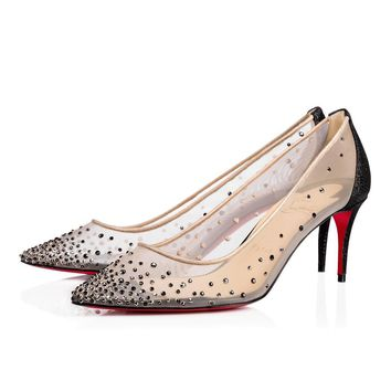 Christian Louboutin Cl Follies Strass Version Black Glitter 14w Special Occasion 1170199cm47