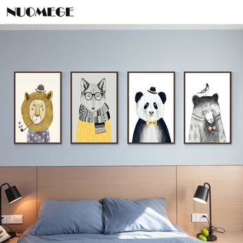 NUOMEGE Nursery Animal Posters and Prints Lion Bear Canvas Painting Fox Panda Wall Art Decorative Picture For Bed Room Decor