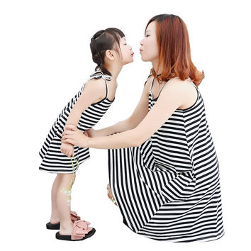Family clothing Mother daughter dresses Summer fashion sleeveless Striped cotton matching mother and daughter clothes dress 28