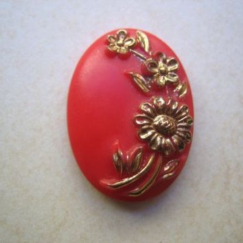 Vintage Deco coral red gold glass cabochon floral raised design  oval 25 x 18mm