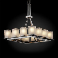 Justice Design Group GLA866326WTFRNC Veneto Luce Montana 12-Light Brushed Nickel Tall Ring Chandelier