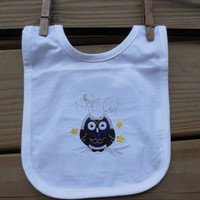Embroidered Infant Baby Bib, Night Owl Embroidery Purple Owl Applique, Newborn Halloween