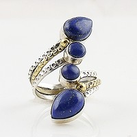 Lapis Two Tone Sterling Silver Adjustable Ring