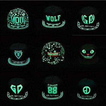 ozyc Dark glowing Snapback cap hip hop hat flat brim hats women baseball cap men capwomen caps Gorros hombron dad cap