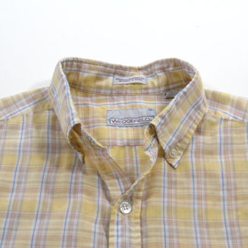 Vintage 1980s Yellow Plaid Shirt - Men's Size Men's Size Medium Med M - Sale