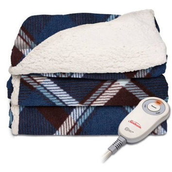 Sunbeam Electric Heated Plush To Sherpa Throw