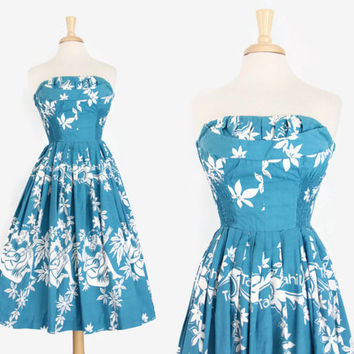 50s Alfred SHAHEEN Hawaiian DRESS / 1950s Tahiti Tahitian Strapless Sun Dress