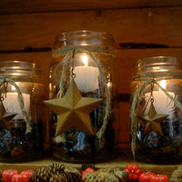 Barn Star Rustic set of 3 Mason Jars filled with Pinecones and candle for table decor, holiday decor, rustic decor
