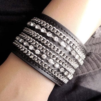 New/Black PU Leather Bracelet mixed Chained Silver Tone Jewelry Craft Rhinestone Crystals