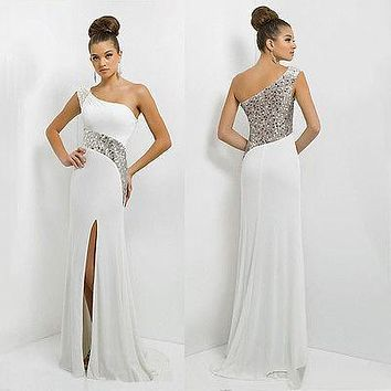 women Long Maxi  Off one Shoulder Chiffon Sequins Evening Formal Party Dress Gown