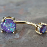 Gold Belly Button Rings Purple Opal Belly Button Rings Opal Belly Rings