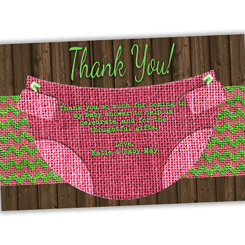 Girl Baby Shower Thank You Cards - Diaper Thank You Card - Pink Baby Shower - Burlap Country Diaper Thank You Tags - Girl Green Wood