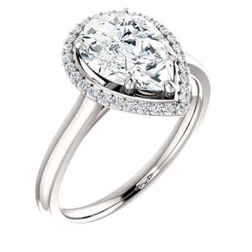2.0 Ct Pear Halo-styled Diamond Engagement Ring 14k White Gold