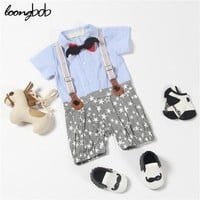 New Fashion Baby Clothing Baby Boy Romper Formal One Piece Rompers Bow Tie Leisure Jumpsuit Star Printed Stylish Romper