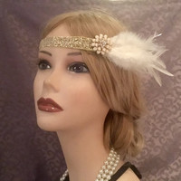Flapper 20's Inspired Gold Sparkly Ivory Goose Feather Stretch Adjustable Art Deco Headband 1920s Headpiece Enamel Flower Head Piece (719)