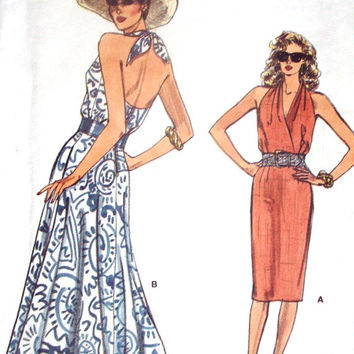 Halter Dress sundress sewing pattern marilyn monroe style prom evening gown beach resort vintage 80s 1980s Vogue 9828 women 6 8 10