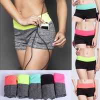 New Women Sport Shorts Yoga Fitness Running Short Pants Outdoor Workout Elastic Summer Sports Female Shorts [8834052364]