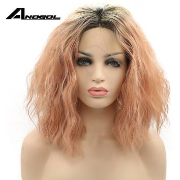 Anogol Transparent Glueless Heat Resistant Fiber Hair Water Wave Ombre Pink Short Bob Synthetic Lace Front Wigs With Dark Roots