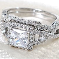 Size 5-10 Amazing Princess cut White Topaz Withe gold filled Wedding Ring Set 2pcs  Gift = 1931938180