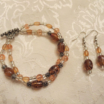 Lamp Work Double Strand beaded bracelet and earring set Tans Peach Vintage Look Women Girls Jewelry Elegant Chic