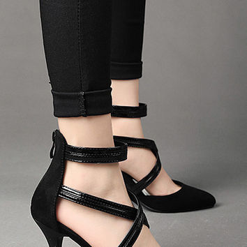 Black Swirling-bandage Heels