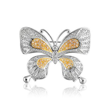 Yellow Pave Golden CZ Butterfly Brooch Pin Silver Plated Gold Plate