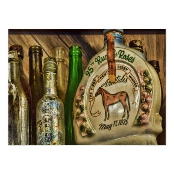 Vintage Antique Wine Bottles Poster