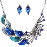 Ethnic Style Tibetan Silver Blue Peacock Crystal Chunky Bib Earrings Necklace Set Wedding Party