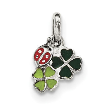 Sterling Silver Enamel Ladybug and Clovers Kid's Pendant QP4086