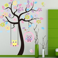 Decorative Owl Bird Tree Wall Sticker For Kids Living Rooms Children Baby Nursery Wallpapers For Bedroom Decoracion Home Decor